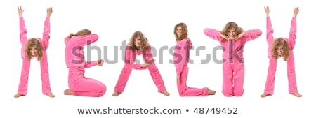 Girl in pink clothes  making word HEALTH, collage stock photo © Paha_L