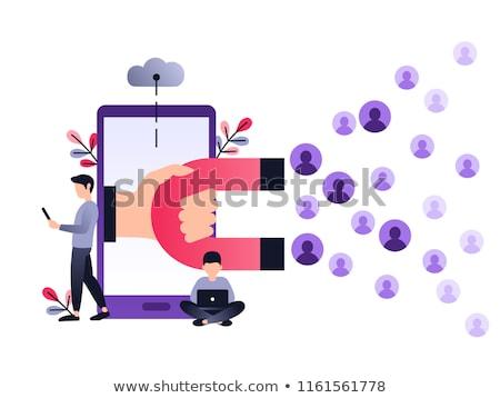 Vásárlói elégedettség ibolya vektor ikon terv digitális Stock fotó © rizwanali3d