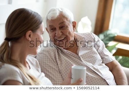 Gelukkig ouderen dame genieten grap lachend Stockfoto © ozgur