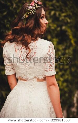 gyönyörű · fiatal · menyasszony · esküvői · ruha · virág · koszorú - stock fotó © deandrobot