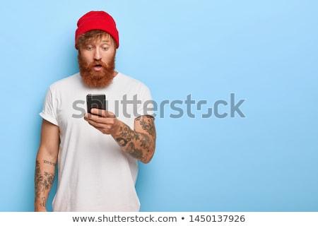 szégyenkezve · fiatalember · férfi · arc · kéz · vektor - stock fotó © rastudio