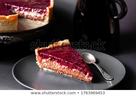 chocolate cake stuffed with cherries stock photo © peredniankina
