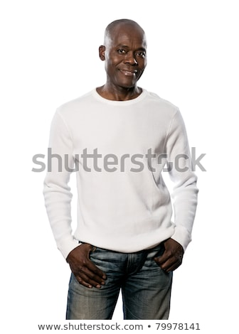 confident mature bald man posing smiling with hands in pockets stock photo © feedough