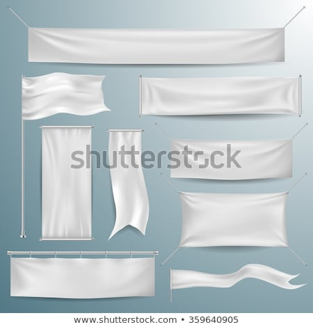White textile banners with folds template set Stock photo © Fosin