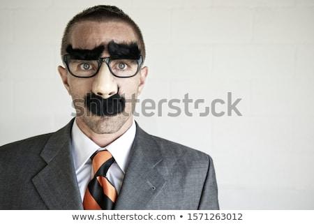 Gizlemek adam siyah maske parmak Stok fotoğraf © Stocksnapper