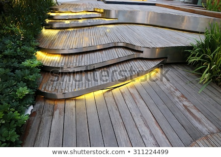 Stock Photo: A Old Outdoor Wooden Staircase