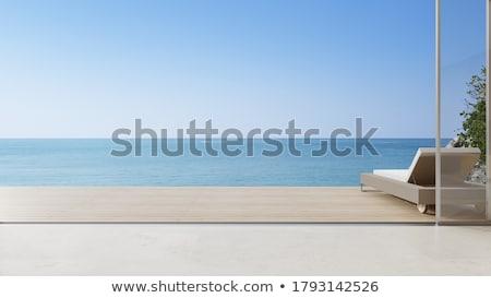 Foto stock: Ver · mar · terraço · arquitetura · férias · horizonte