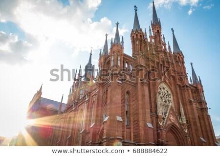muur · katholiek · kerk · oude · Rood · baksteen - stockfoto © kyolshin