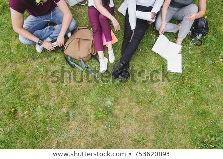 An aerial view of a girl reading at the table Stock photo © bluering