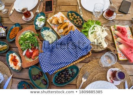 Lezzetli kahvaltı zarif stil sıcak içecekler Stok fotoğraf © filipw