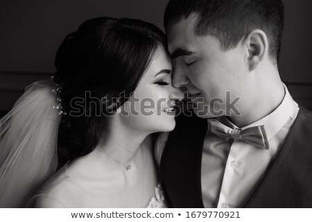 Stockfoto: Bruiloft · paar · zoenen · vliering · interieur · stijlvol