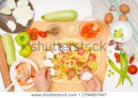 pizza · domates · sosu · taze · lezzetli · ev · yapımı · hazırlık - stok fotoğraf © dash