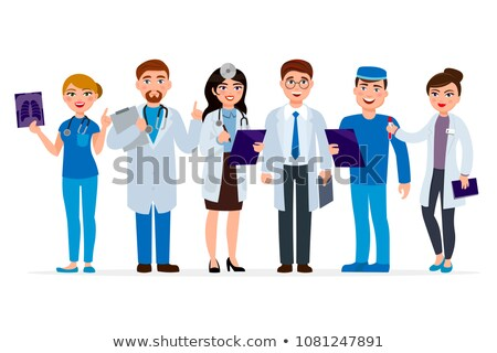 medical clinic staff doctor and nurses infographics element stock photo © vectorikart
