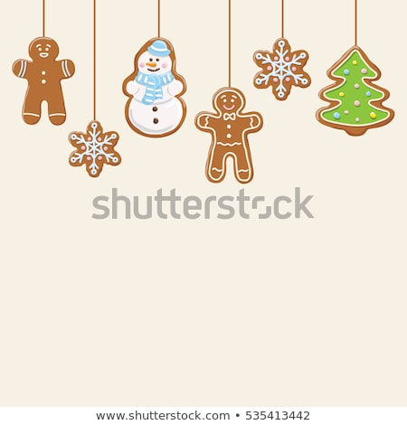 christmas gingerbread cookies hanging on the ropes vector background stock photo © vectorikart