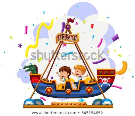 Gyerekek lovaglás viking csónak illusztráció tájkép Stock fotó © bluering