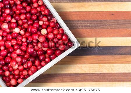 full punnet of fresh ripe red cranberries stock photo © ozgur
