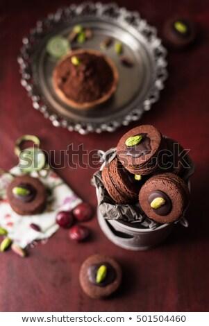 Csokoládé olasz pisztácia diók sütik konzervdoboz Stock fotó © faustalavagna