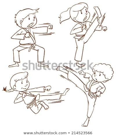 A simple drawing of the people doing martial arts Stock photo © bluering