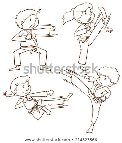 Eenvoudige tekening mensen vechtsporten illustratie witte Stockfoto © bluering