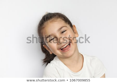 Foto stock: Retrato · risonho · little · girl · rosa · vestir · branco