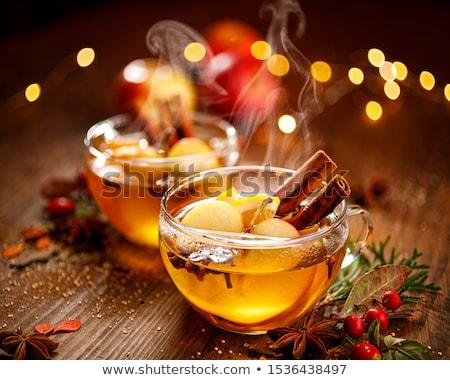 sıcak · elma · elma · şarabı · tarçın · baharatlar · düşmek - stok fotoğraf © karaidel