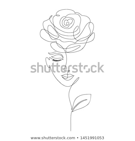 portrait of a womans face with roses stock photo © konradbak