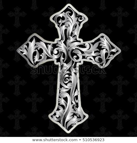 Gothic argento cross gioielli nero decorato Foto d'archivio © blackmoon979