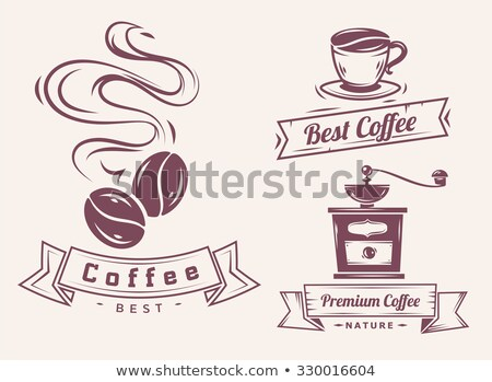 set of vector coffee mill elements and cafe accessories illustration can be used as logo label in stock photo © jeksongraphics