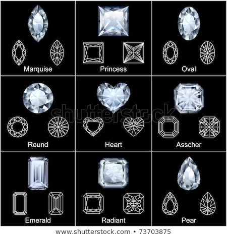 jewelry heart set gemstones hearts shaped collection colorful diamonds vector illustration clip stock photo © lucia_fox