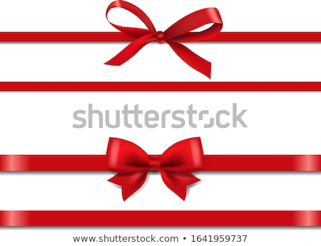 赤 シルク リボン 4 装飾された 金 ストックフォト © blackmoon979
