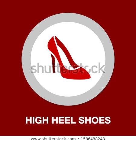 Stock fotó: Magas · sarok · cipő · ikon · szürke · zöld · nő