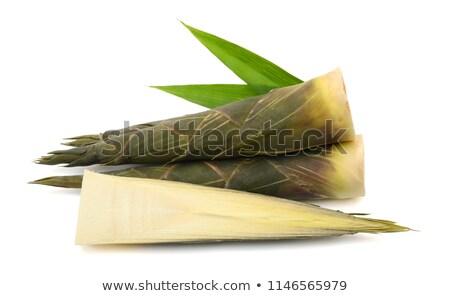 Bambu dilimleri çanak pembe masa örtüsü Stok fotoğraf © Digifoodstock