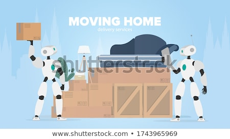 robot moving shipping boxes Stock photo © kjpargeter