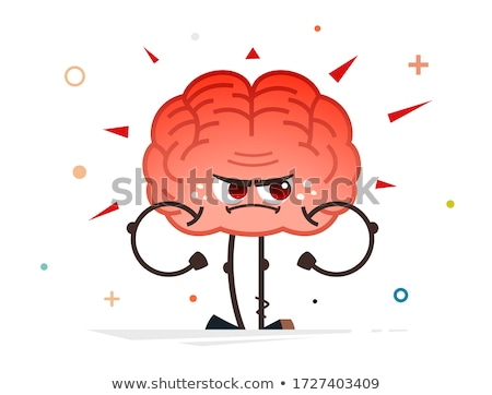 Stockfoto: Woede · Rood · hersenen · geïsoleerd · witte · 3d · illustration