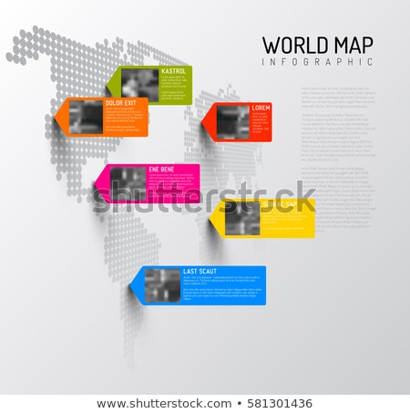 Stock photo: World map template with photo pins