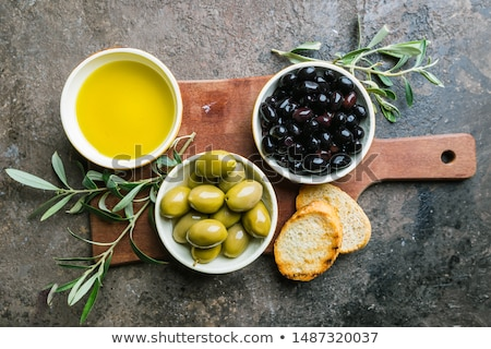 Ingesteld extra maagd olijfolie olieverf glas Stockfoto © marimorena