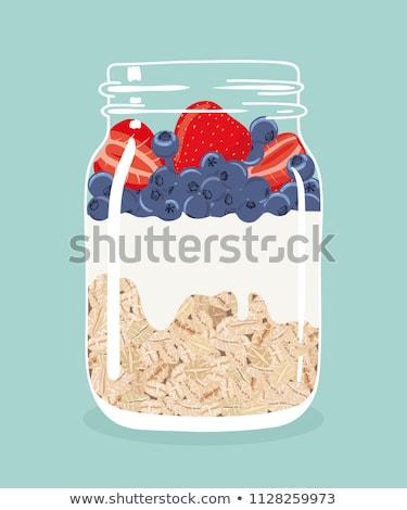 çilek · yoğurt · müsli · eski · ahşap · gıda - stok fotoğraf © m-studio