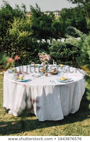 Wedding table setting decorated in rustic style. Wedding inspira stock photo © Yatsenko
