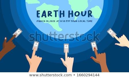 Tierra hora vector planeta tierra amanecer espacio Foto stock © -Baks-