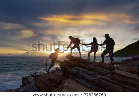 Stockfoto: Team · gevaar · moeite · klif · leven · Nevada