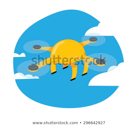 Funny yellow drone flying on a blue sky background stock photo © pcanzo