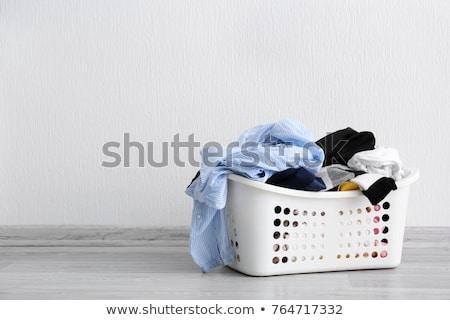 Szennyeskosár tiszta törölközők fehér munka gép Stock fotó © Joseph