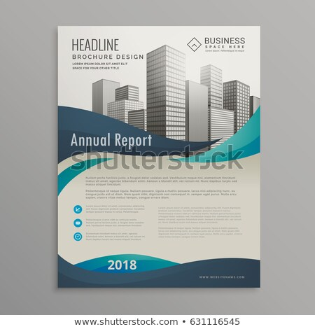 brochure design template with blue wavy shapes in modern style Stock photo © SArts
