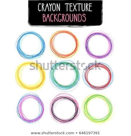crayon round frame isolated on white stock photo © pakete