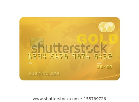 Photo stock: Gold Credit Card With World Map - Isolated On White With Clippin