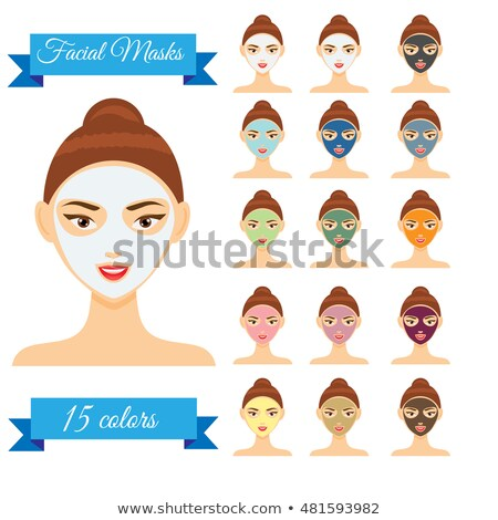 Vector illustration of different color facial masks. Woman with  stock photo © NikoDzhi