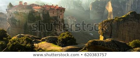Titokzatos akasztás kövek panorámakép kilátás kolostor Stock fotó © Freesurf