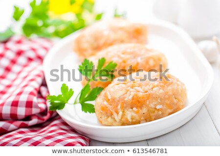 raw uncooked meat cutlets with vegetables baby food stock photo © yelenayemchuk