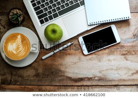 Cuaderno manzana taza café superior vista Foto stock © Sonya_illustrations
