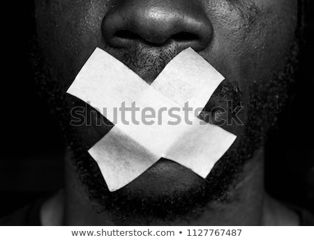 man with censored tape on face Stock photo © ssuaphoto